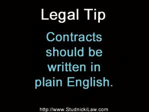 Contracts should be written in plain English