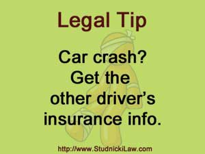 Get the other driver's insurance info