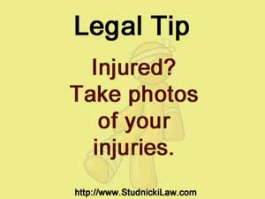 If injured, take photos of your injuries